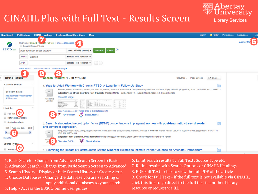 CINAHL Plus with Full Text Results Screen